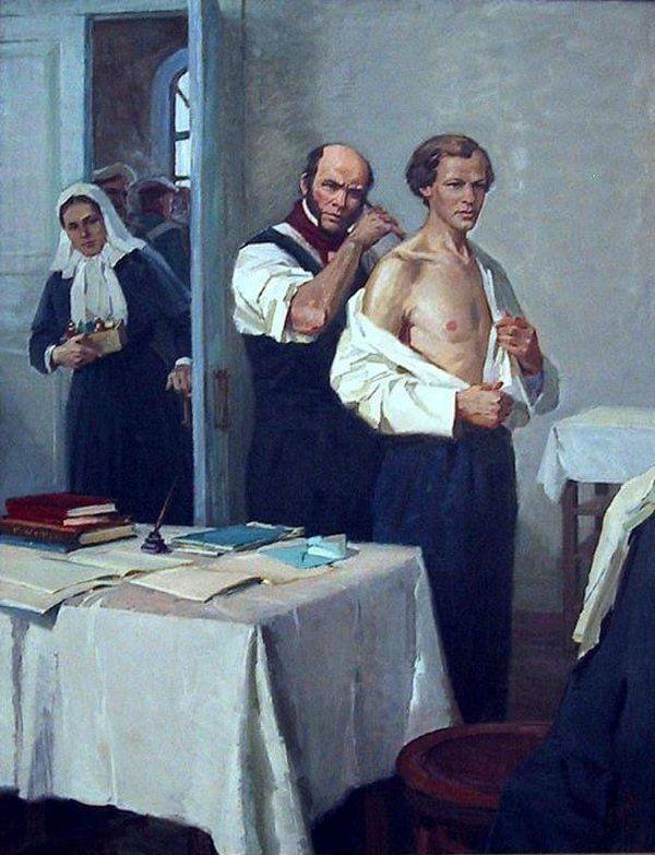 Н.И. Пирогов осматривает Д.И. Менделеева