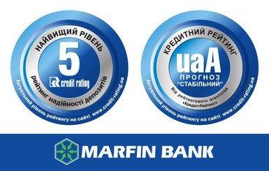 «Кредит-Рейтинг» подтвердил наивысший рейтинг депозитов ПАО «МАРФИН БАНК»