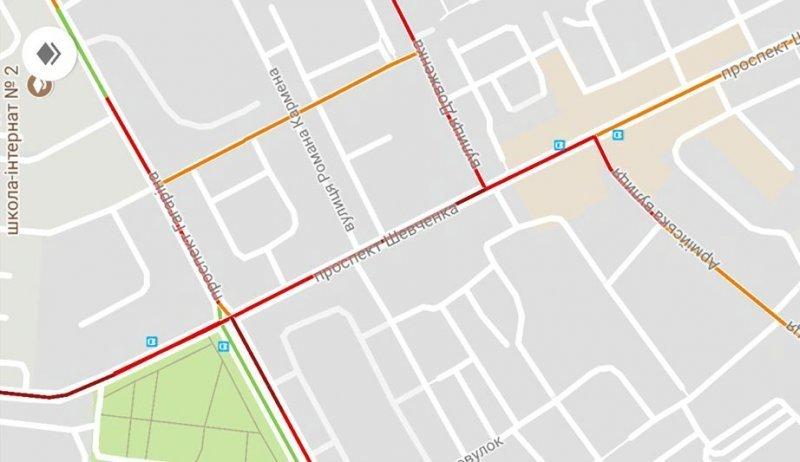 Светофоры парализовали движение на проспекте Шевченко