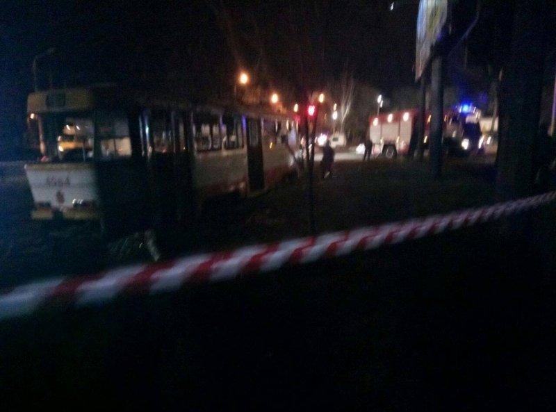 У «Молодой гвардии» горит трамвай