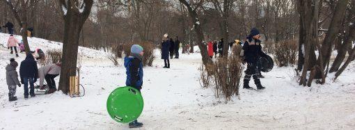 Снег превратил Парк Победы в большой детский аттракцион