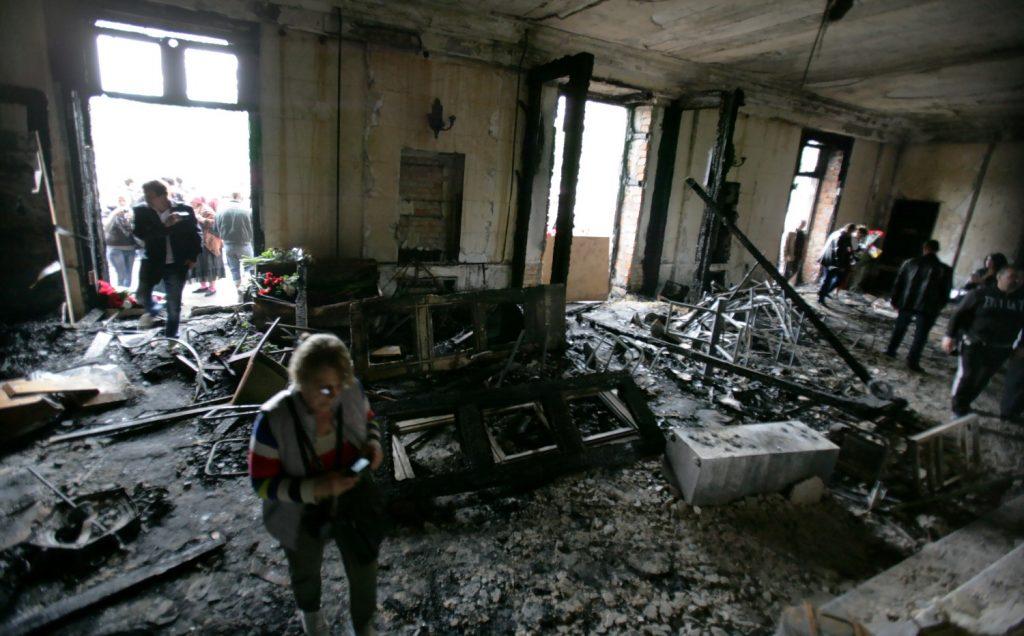 дом профсоюзов после пожара