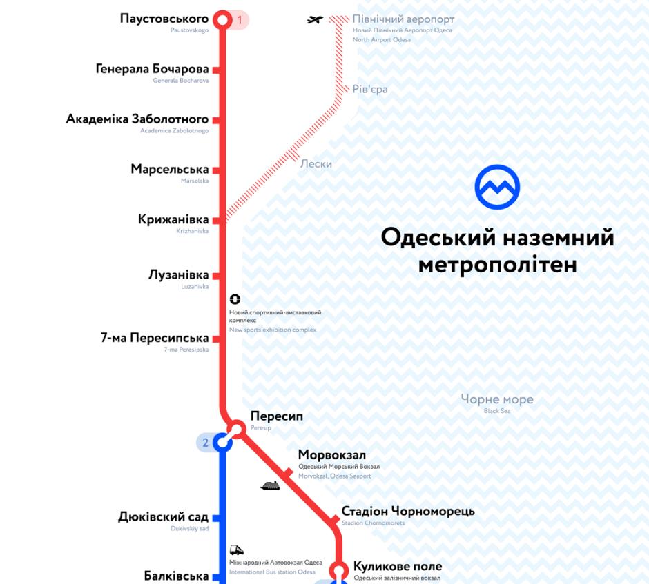 """Схема руху """"Одеського метро"""""""