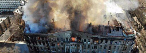 Пожежа в Одеському коледжі економіки: як це було? – фото та відео з висоти пташиного польоту