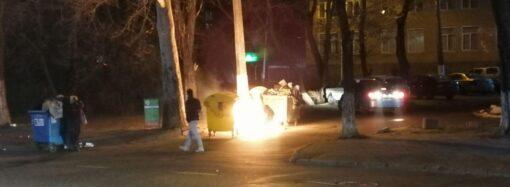 В Приморском районе Одессы горели мусорные баки (фото, видео)