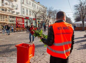 В центре Одессы коммунальщики оригинально поздравили дам с женским днем (фото)
