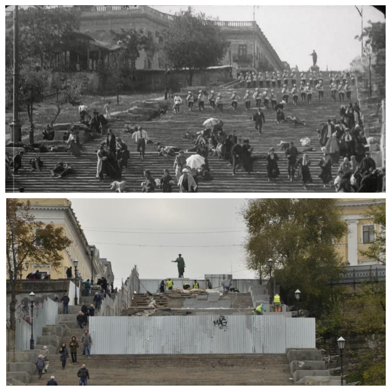 """Потемкинская лестница в 1925 году во время съемок фильма """"Броненосец Потемкин"""" и в 2014-м"""