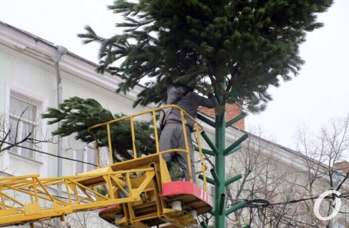 В Одессе на Дерибасовской устанавливают елку, а на Приморском бульваре — ярмарочный городок (фото)