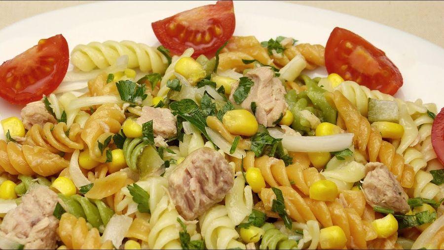 салат с фасолью и макаронами