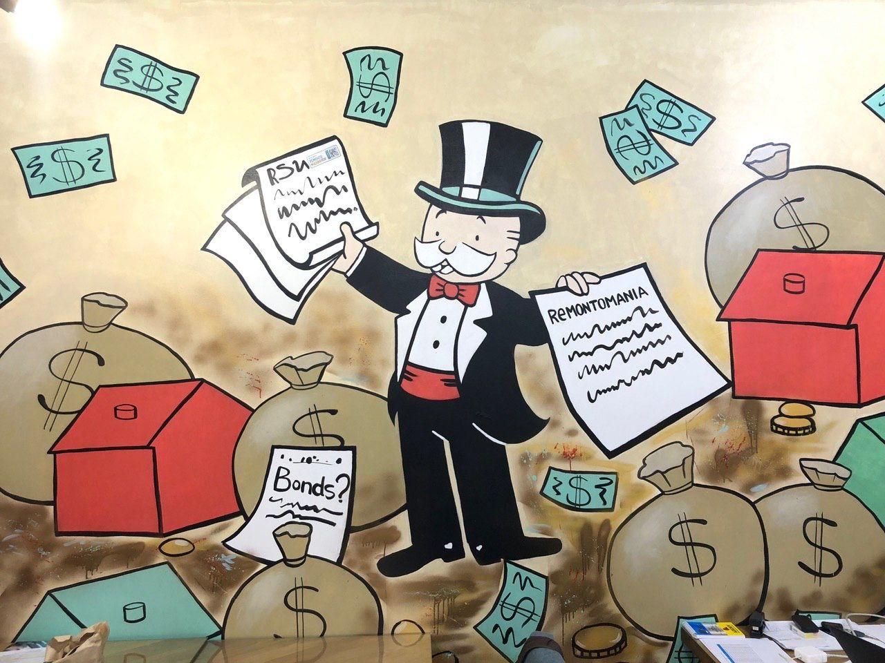 Во всех офисах РСУ изображен герой «Монополии»