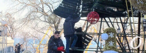 В Одессе прощаются с новогодним убранством и демонтируют елки (фото)