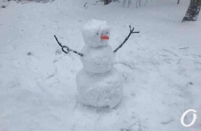 В одесском парке Победы – массовое строительство снеговиков и покатушки на санках (фоторепортаж)