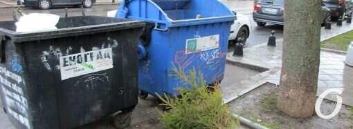 В Одессе уже стали появляться елки у мусорных контейнеров (фотофакт)