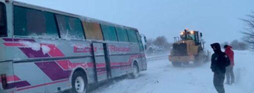 На трассе Киев – Одесса извлекли из снежного заноса автобус с пассажирами (видео)