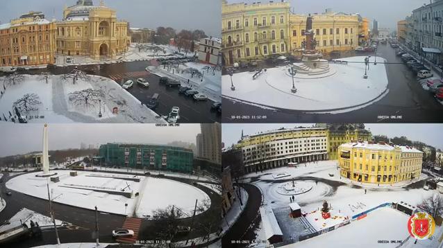 Одессу заметает снегом (фото, видео)