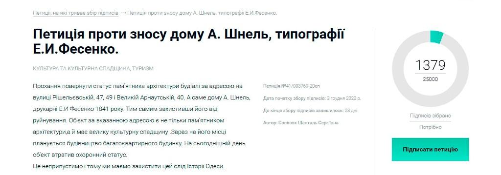 петиция о сохранении типографии Фесенко в Одессе