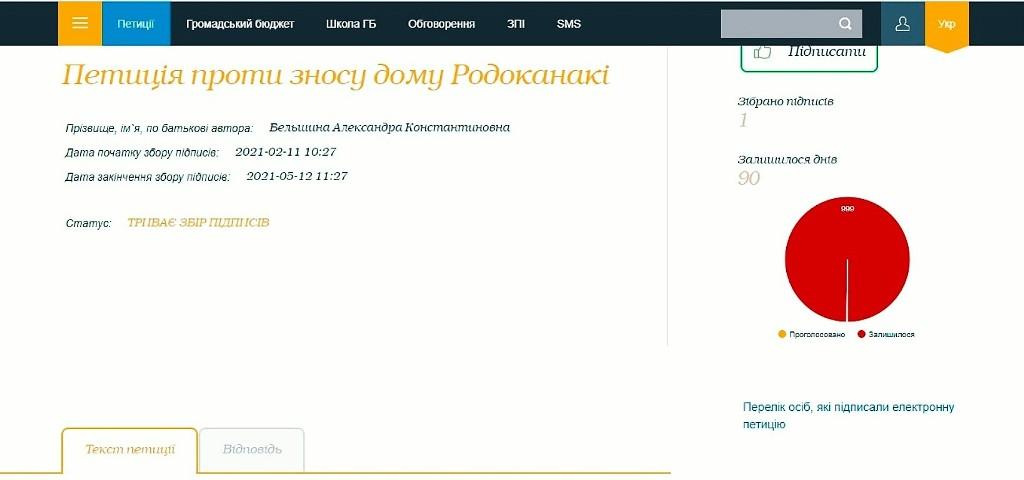 петиция против сноса дома Родоканаки