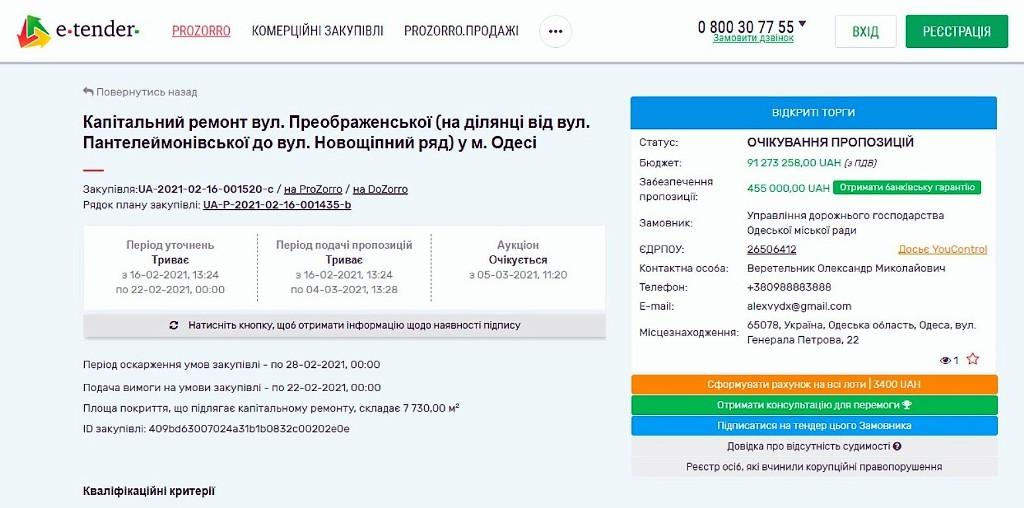 тендер на ремонт участка ул. Преображенской