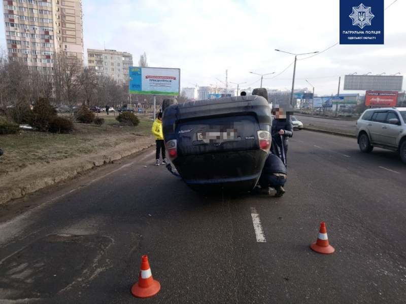 в Одессе перевернулась Тойота