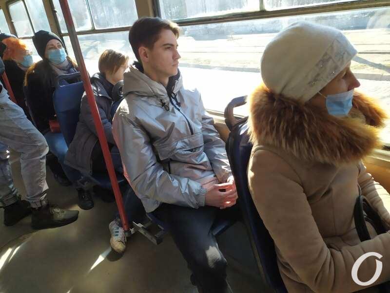 карантин в одесском транспорте, пассажиры трамвая