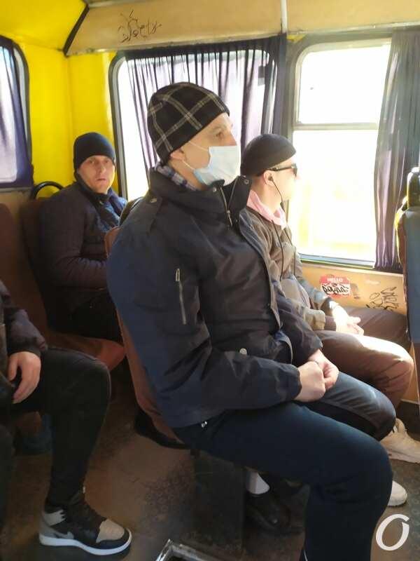 карантин в одесском транспорте, в масках и без