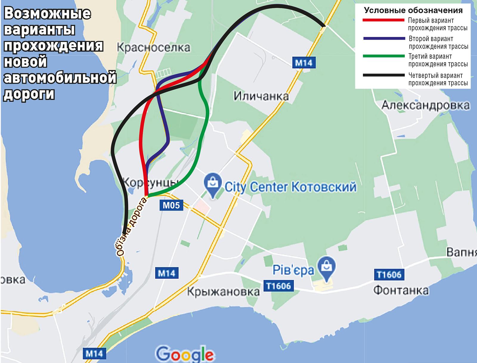 карта трассы в обход Поскота