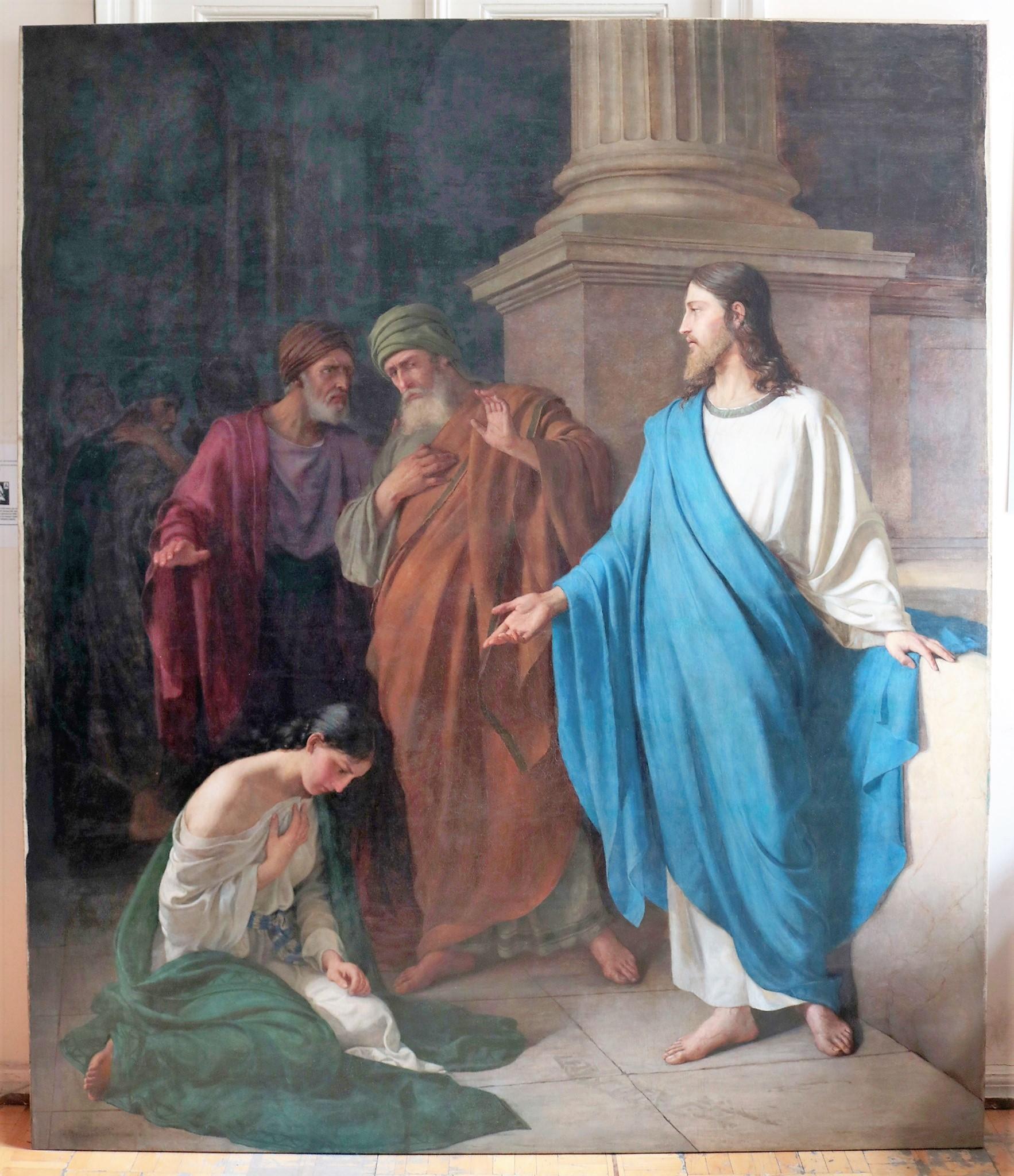 полотно «Христос и грешница», после реставрации