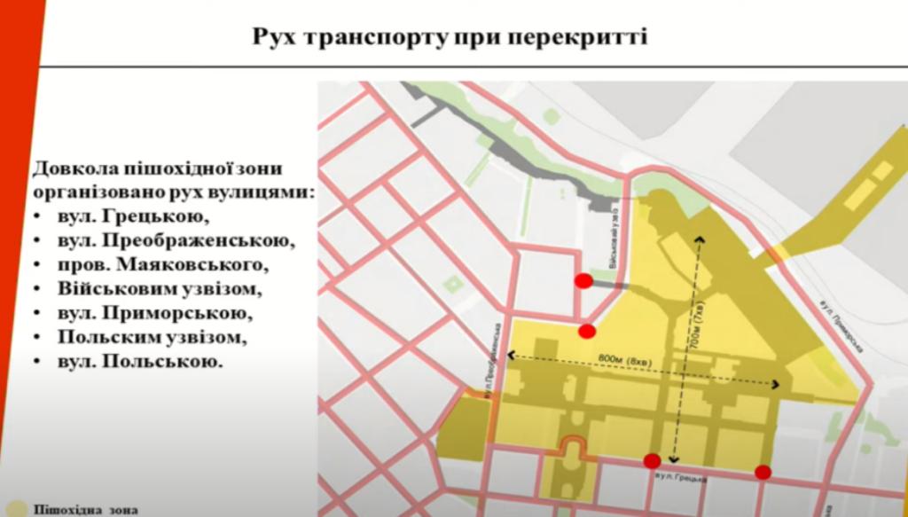 пешеходная зона Одессы, схема объезда