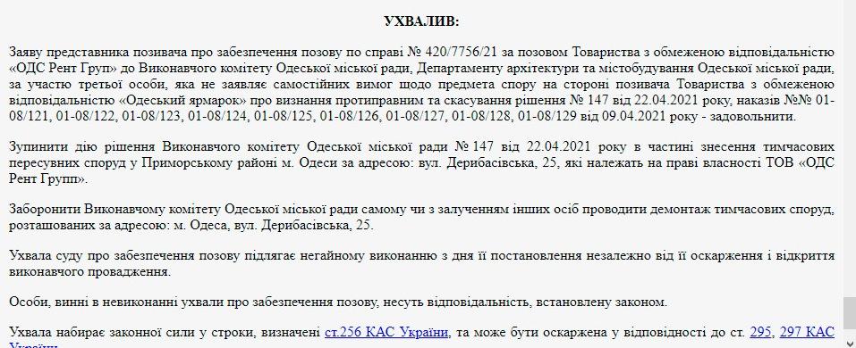 решение суда об Одесской ярмарке