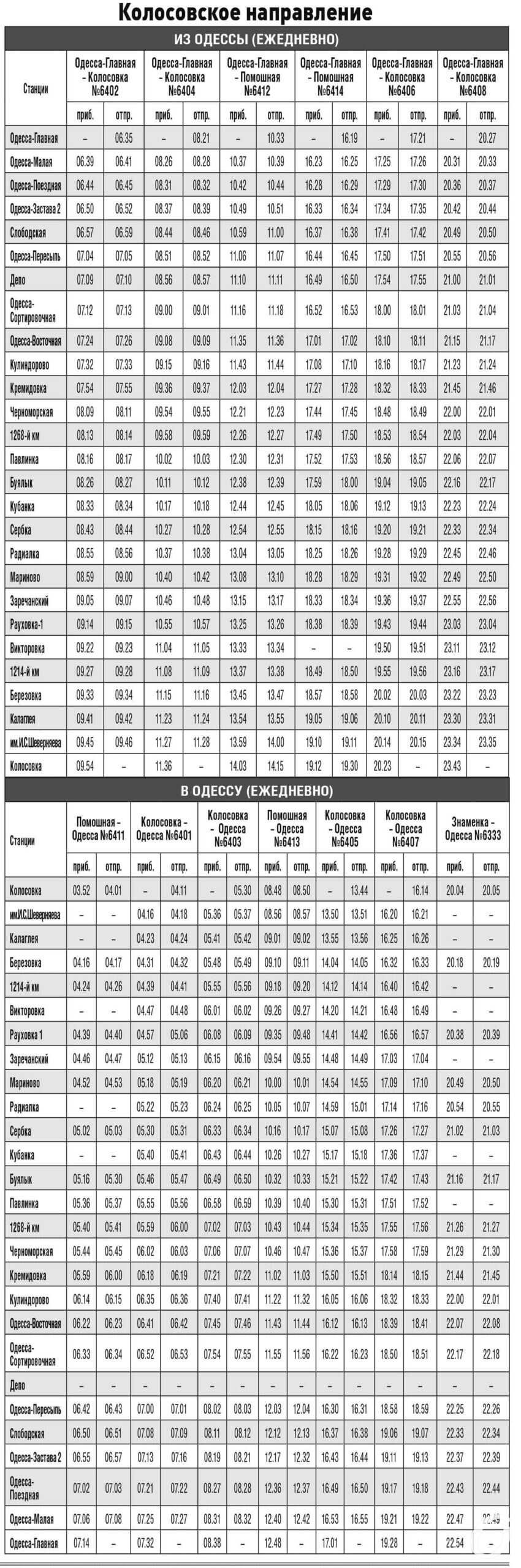 Расписание электропоездов Колосовка