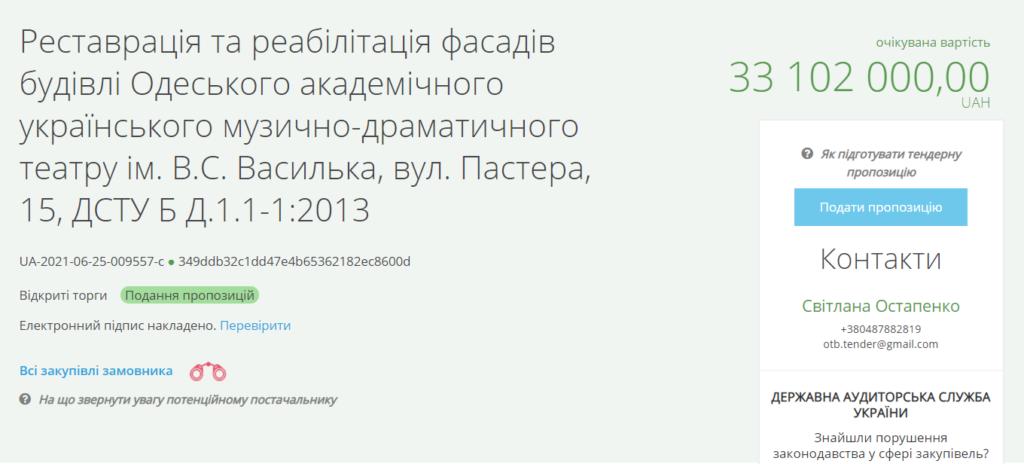 тендер на ремонт украинского театра