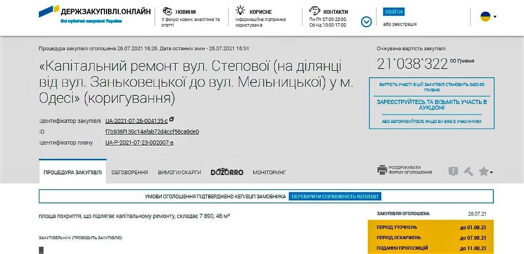 ремонт участка улицы Степовой, тендер