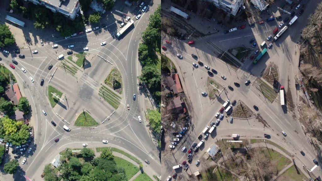 Круговой перекресток на Добровольского до и после