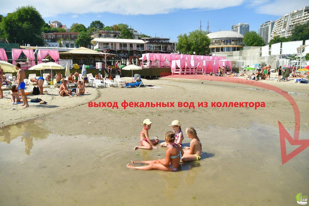 дети на пляже в грязной воде