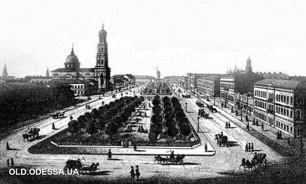 Старинная гравюра Александровский проспект
