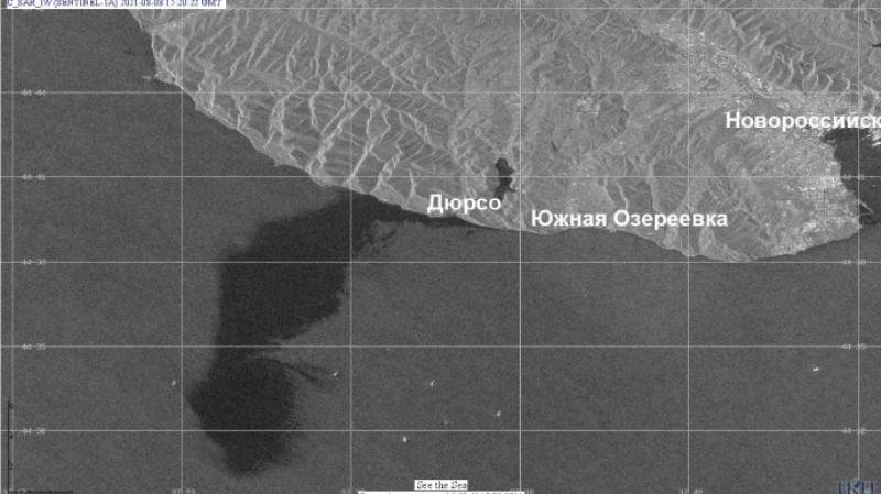 разлив нефти в Черном море, снимок со спутника