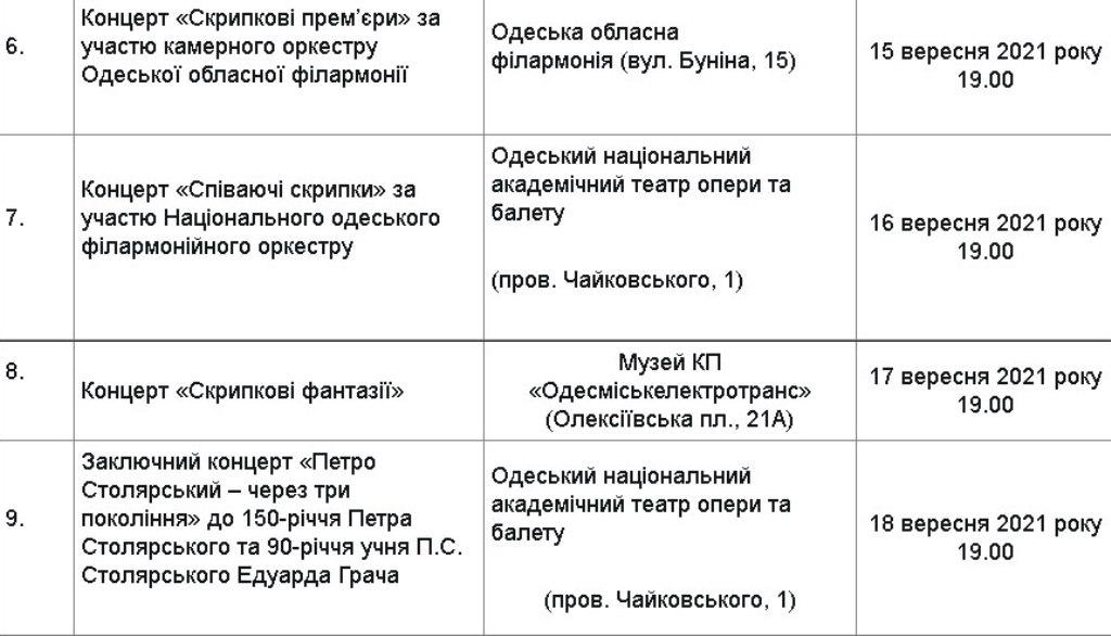 Программа фестиваля «Золотые скрипки Одессы»2