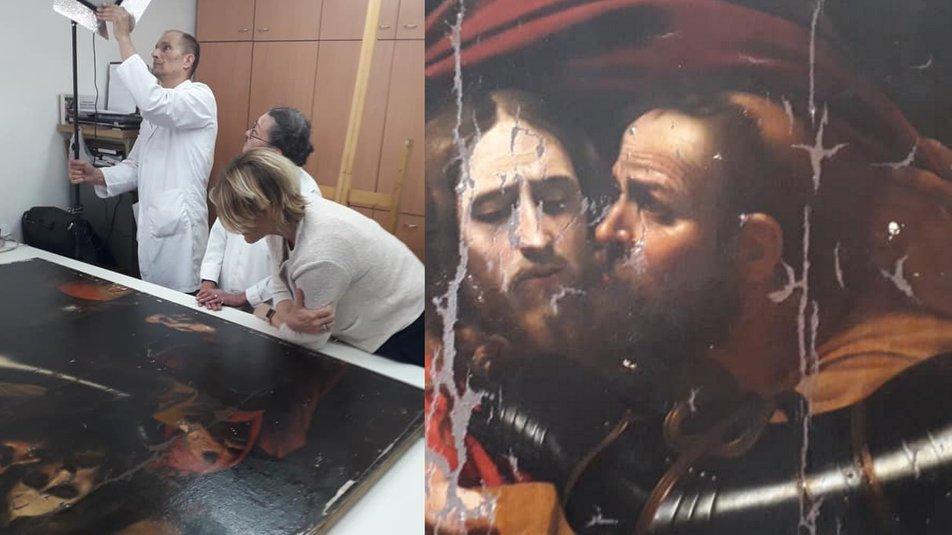 реставрация картины Караваджо Поцелуй Иуды