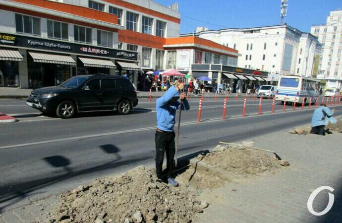На Екатерининской у одесского Привоза готовят лунки для будущих акаций (фото)