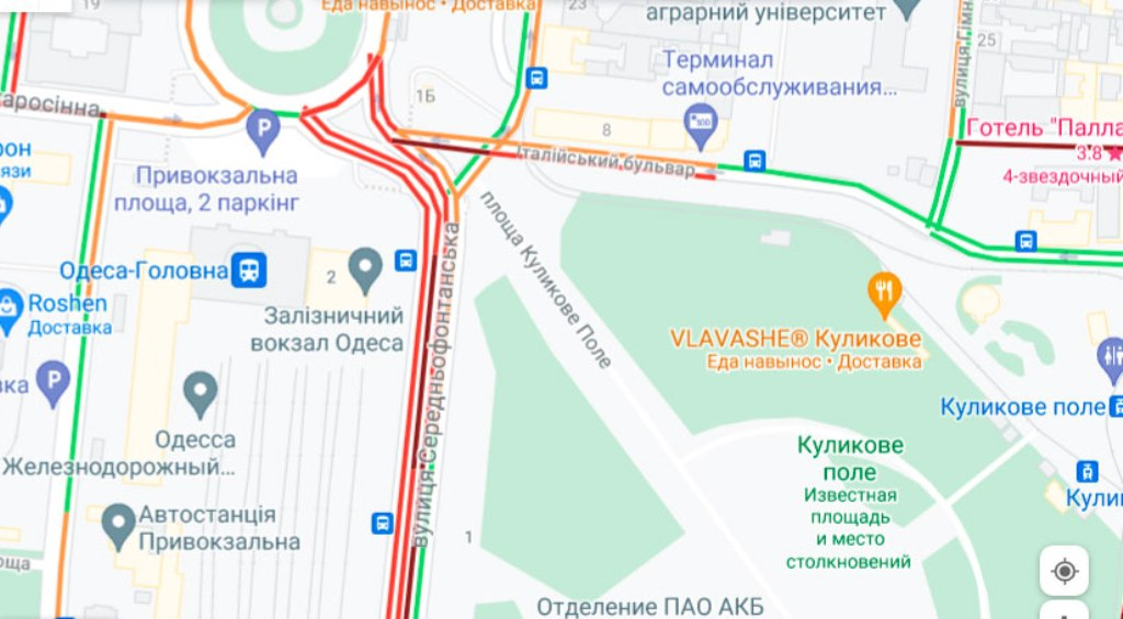Пробки 4 октября, Среднефонтанская